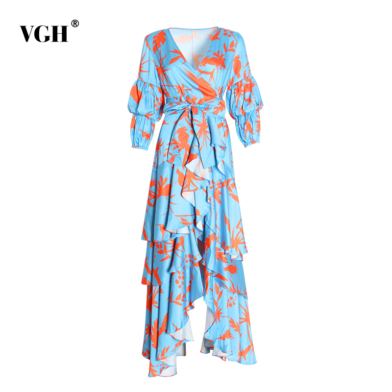 VGH asymétrique la robe femme col en V manches bouffantes taille haute Bandage arc volants imprimer robes femme mode nouveau 2019 automne