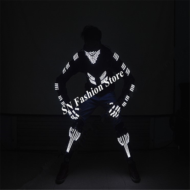 L99 Ballroom dance led costumes glowing light robot suit dj mask clothes knees stage dis ...