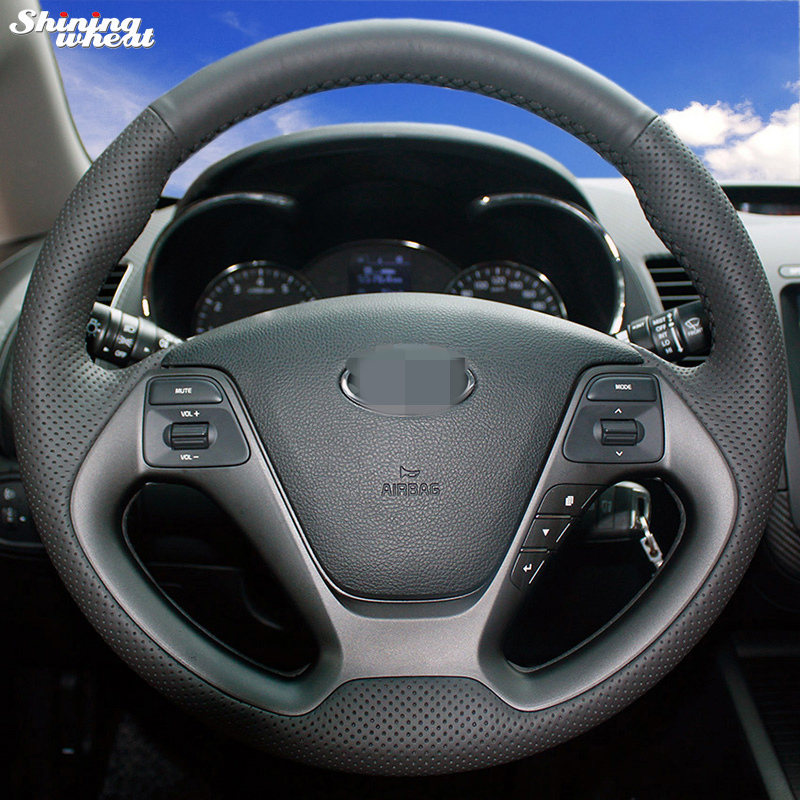 Shining wheat Black Leather Steering Wheel Cover for Kia K3 2013 Kia K2 2015 Kia Ceed