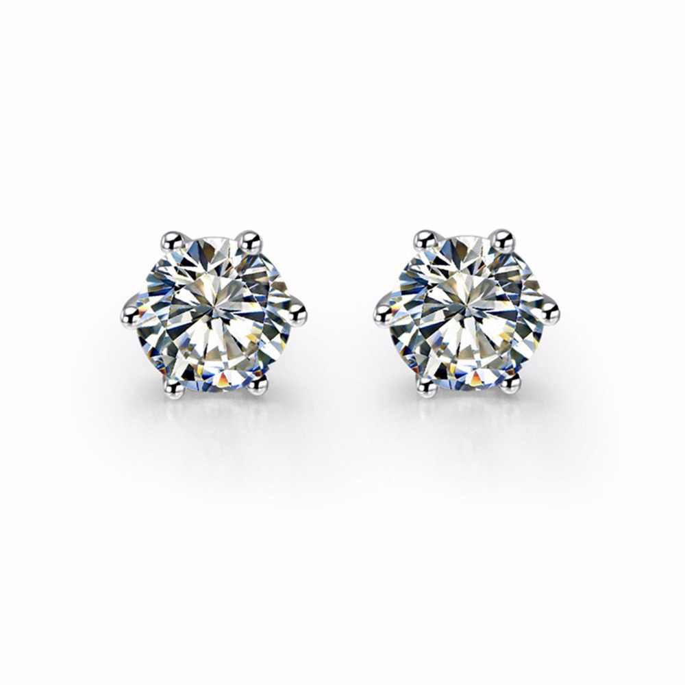 b783427ce 0.5CT/Piece Round Cut Clear I-J Synthetic Diamonds Stud Earrings Basket  Engagement Earrings for