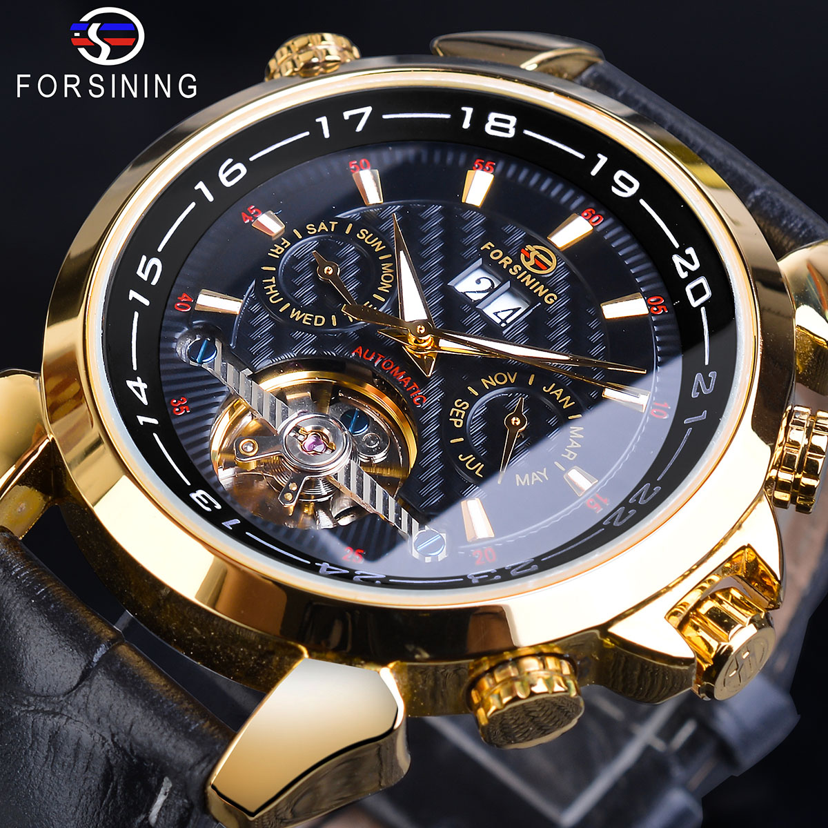Forsining Tourbillon Mechanical Watch Male Automatic Calendar Genuine Leather Band Dress Wristwatches Clock Relogio Montre Homme