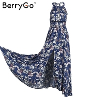 BerryGo Split Backless Summer Dress Women Christmas Floral Beach Dress Halter Neck Long Dress Elegant Maxi
