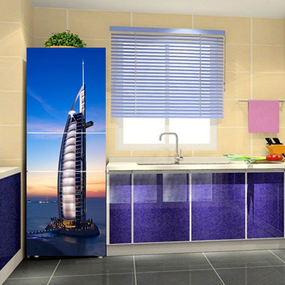 yazi Building PVC Self Adhesive Wall Sticker Refrigerator Door Sticker Refurbished Wallpaper Fridge Wrap Cover Protect Paper-in Wall Stickers from ...