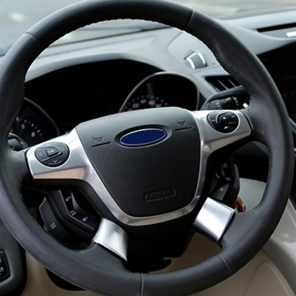 Jameo Auto 2Pcs/Set Car ABS Chrome Interior Steering Wheel Decoration Trim Sticker For Ford C-MAX CMAX 2017 2018 Accessories