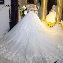 Gorgeous Applique A Line Long Sleeves Wedding Dresses Designer Gowns With Cathedral Train DG0069