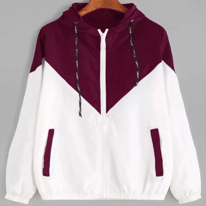 zipper pockets two-tone casual women   basic     jackets   long sleeves coats 2019 autumn hooded top female   jacket   aesthetic windbreaker