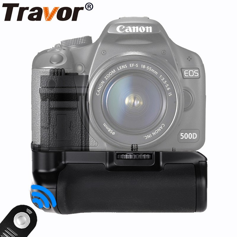 Travor Vertical Battery Grip for Canon EOS 500D 450D 1000D Camera replacement BG-E5+remote control as a gift for free 1 pc new replacement tv remote control for samsung ak59 00172a for dvd blu ray player bd f5700 without battery