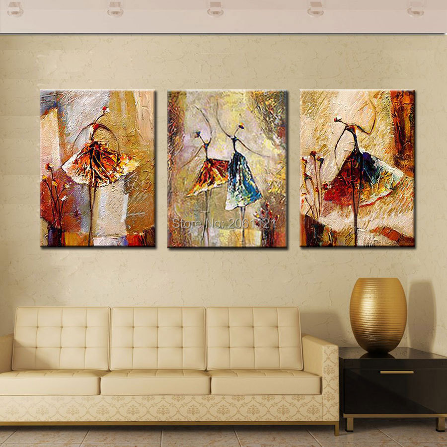 Wall art painting modern - Aliexpress Com Buy Hand Painted Modern Abstarct Oil Painting Ballet Dancer Girls Canvas Wall Art Figure Wall Picture For Living Room Decorations From