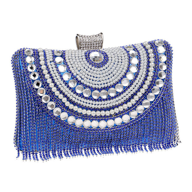Luxury Women Diamond Tassel Evening Bag Day Clutches Party Wedding bride Shoulder Bag Purse banquet Beaded Handbags Wallet Li771