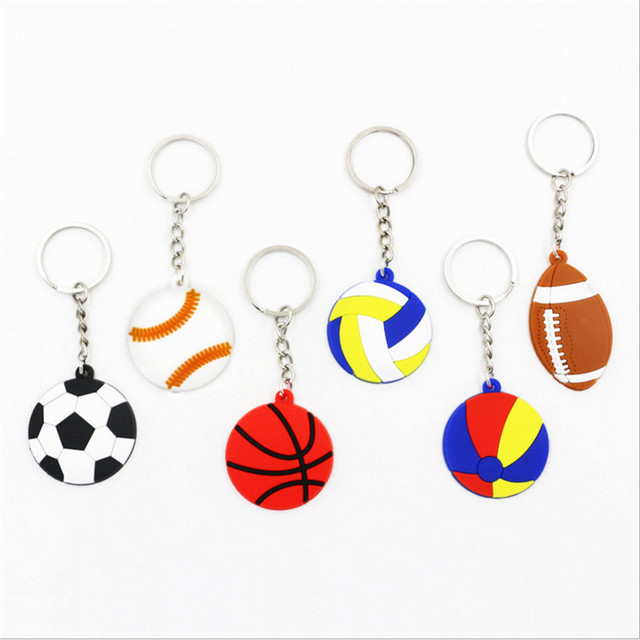 1 piezas creativo clave Cadena de PVC de fútbol béisbol baloncesto voleibol llavero regalos de boda decoraciones de fiesta de cumpleaños de niños-S