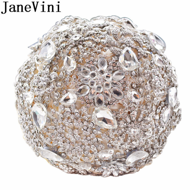JaneVini Luxurious Diamond Satin Flowers Artificial Bridal Bouquet With Crystal Wedding Bouquet Roses Beaded Ivory Bride Brooch