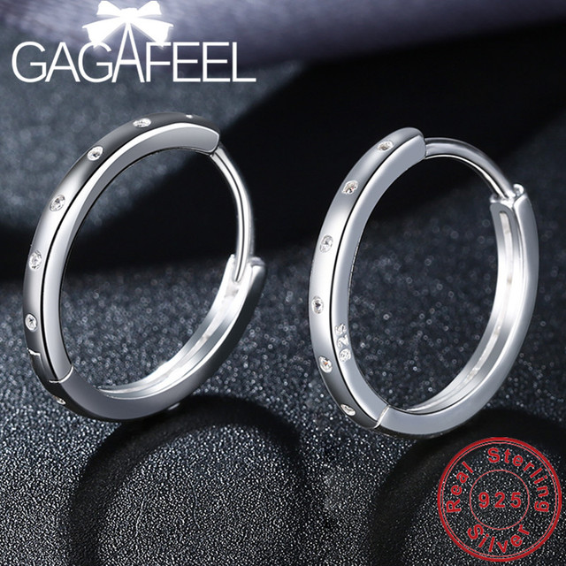 GAGAFEEL 100% Real 925 Sterling Silver Circle Hoop Earrings Fashion Jewelries for Women Female High Quality