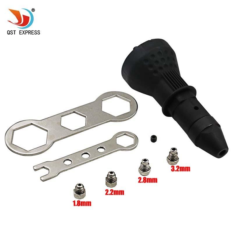 Schwarz Elektrische Nietmutter Gun Nieten Werkzeug Cordless Nieten Drill Adapter Gewindebuchse Werkzeug Nieten Drill Adapter