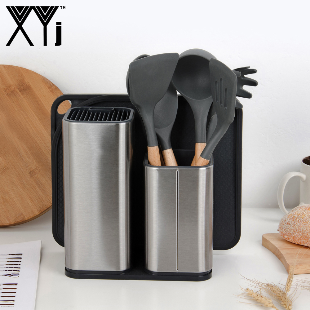 XYj Stainless Steel Kitchen Knives Stand Silicone Cooking Utensil Non-slip Spoon Turner Spatula Soup Ladle BPA Accessory Tools