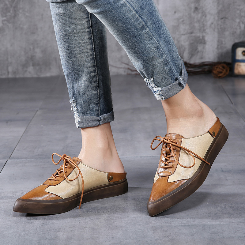 Фотография Retro pointed leather platform shoes women Baotou flat slippers lace casual women loafers genuine leather