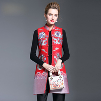 2017 New Style Embroidery Stand Collar Women Winter Coat Vintage Chinese Style Plate Buckle Female Sleeveless