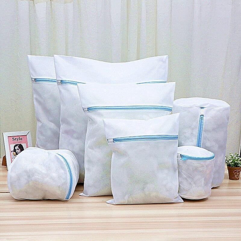 Ev ve Bahçe'ten Çamaşır Torbaları'de Fermuarlı örgü temizleme iç çamaşırı kesesi kadınlar için ev katlanabilir çamaşır makinesi çamaşır torbası giysi sutyen iç çamaşırı çamaşır torbası title=