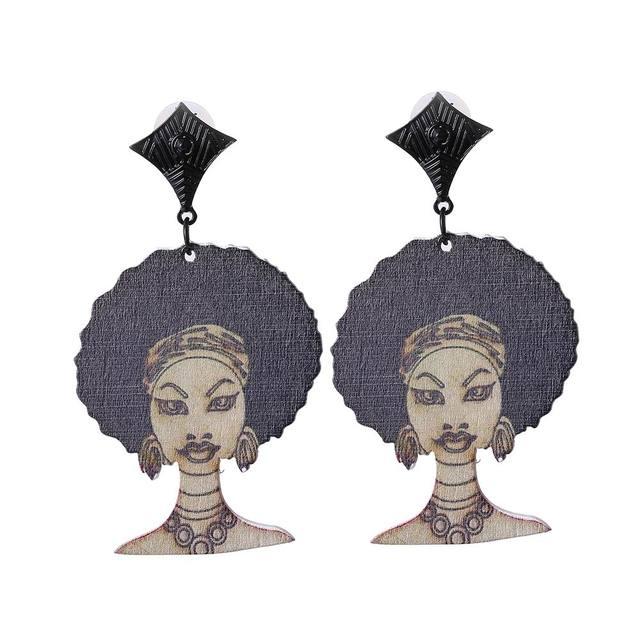 Vintage Chic Печати Рисунок Модель Индийские Женщины Серьги Простой Шарма Сплава Деревянный Афро Серьги Ювелирные Изделия 6 Цвета