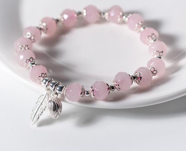 925 Sterling Silver pale pink Rose Quartz  chain Bracelet Made in UK