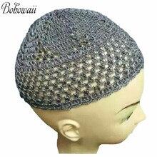 한 사이즈 아랍어 터키어 이슬람 이슬람 남자 hijab 솔리드 컬러 탄성 해골 모자 니트 크로 셰 뜨개질기도 모자