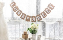 Rustic LOVE IS SWEET Wedding Bunting Banner Garland Photo Props Home Party Decor