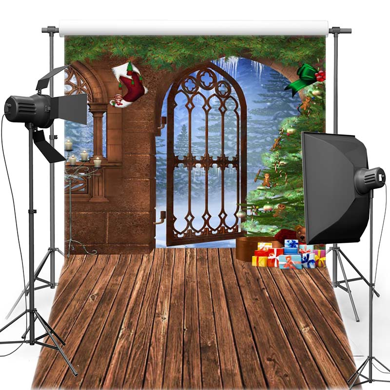 MEHOFOTO Merry Christmas Vinyl Photography Background Iron Gate For Family New Fabric Flannel Backdrop For Photo Shoot 6367