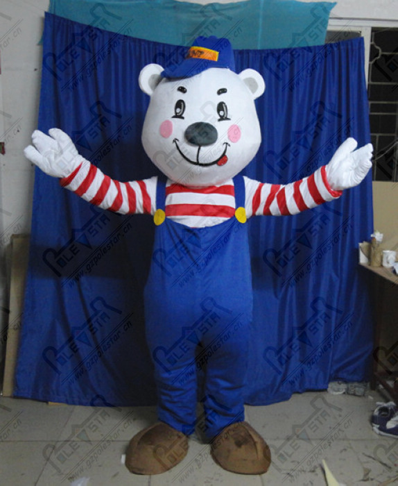 high quality EVA head with fan and helmet happy polar bear mascot costume with blue rompers
