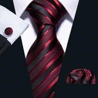 New Male Luxury Neck Tie For Men Business Red Striped 100% Silk Tie Set Barry.Wang Fashion Design Neckwear Dropshipping LS-5022