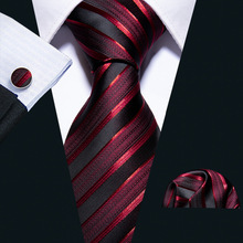 Neck-Tie Business Fashion-Design Luxury Barry.wang Striped New Male Silk Men for Red