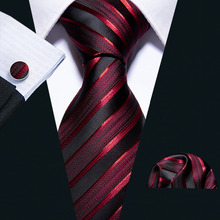 New Male Luxury Neck Tie For Men Business Red Striped 100% Silk Tie