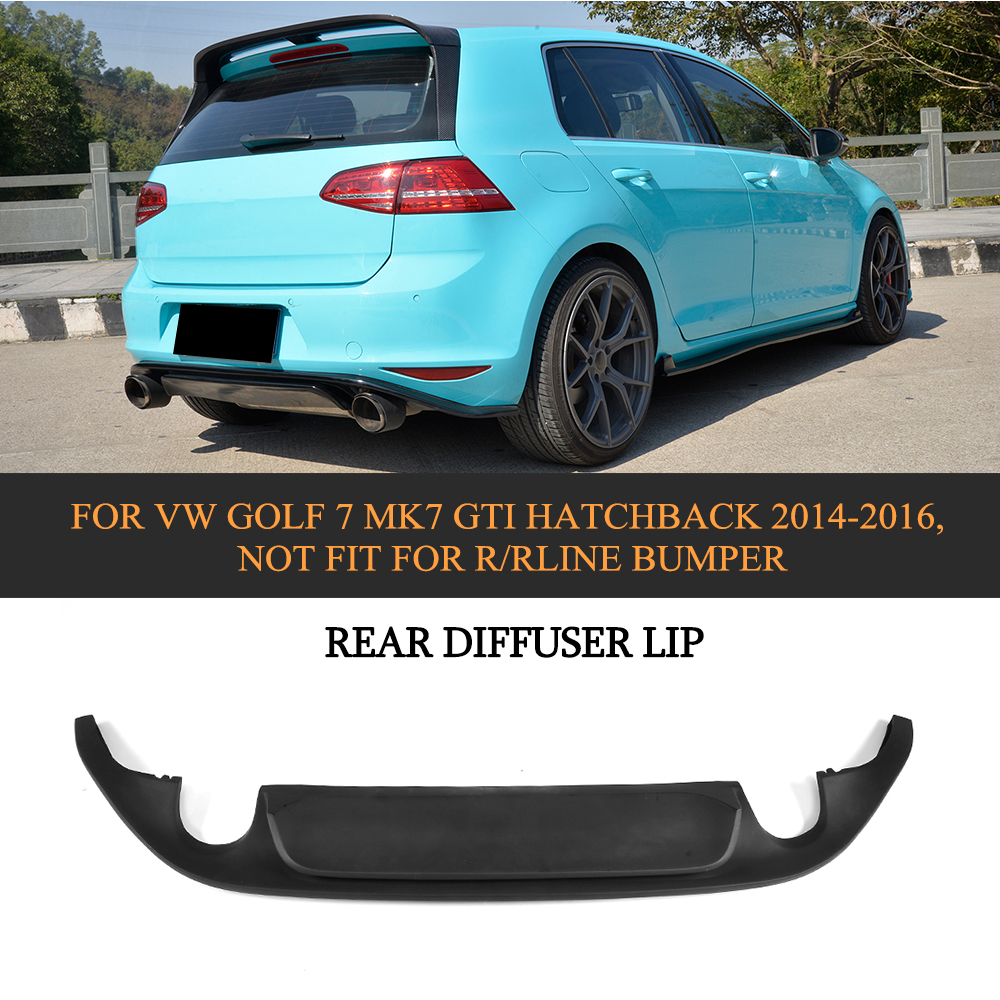 PU Rear Diffuser Lip Bumper Protector For VW GOLF 7 MK7 GTI Hatchback 14-16 NOT fit for R/Rline bumper carbon fiber one outlet наклейки dealnium 3d r rline 30