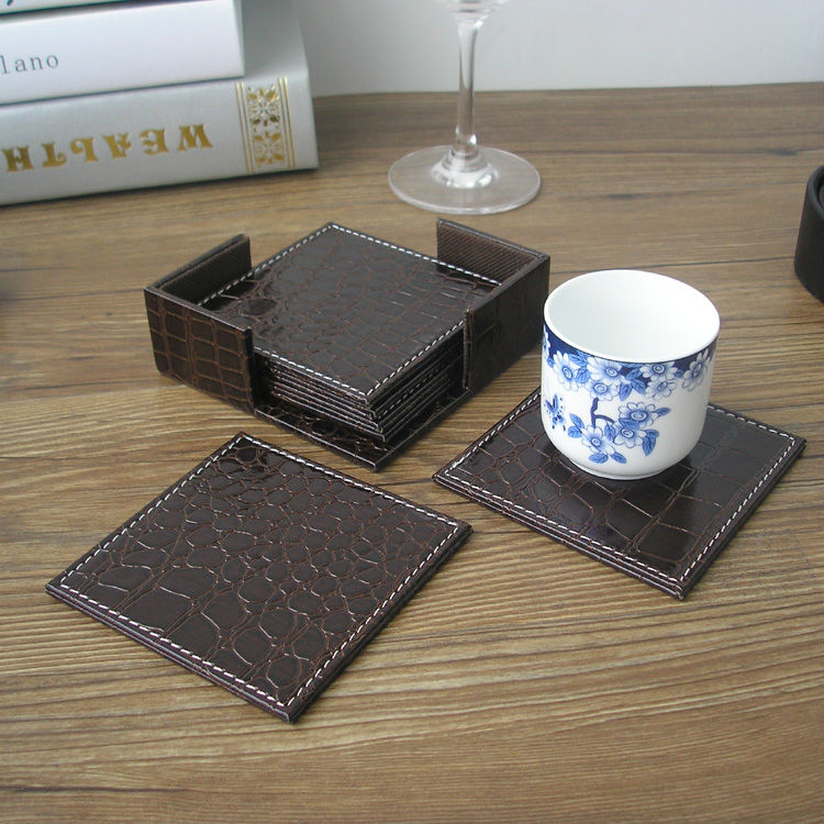 10x10cm 6PCS//set Square Leather Coffee Tea Cup Coasters Pad Table Mat  Placemat Bar Coffee House Crocodile Brown 2035C In Mats U0026 Pads From Home U0026  Garden On ...