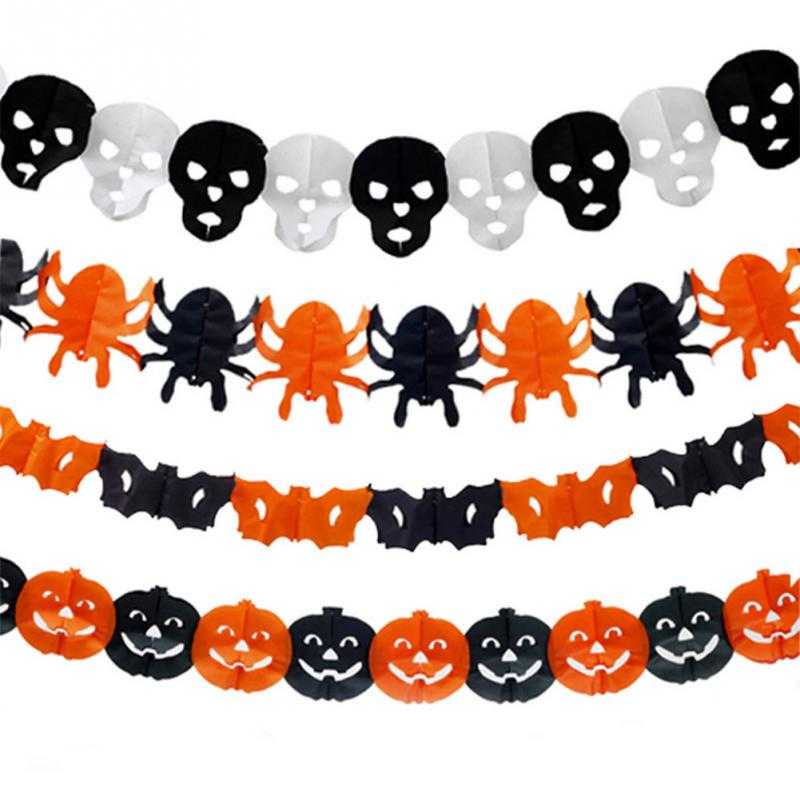 halloween skull paper garlands home bar pub decorations halloween props for party festival in banners streamers confetti from home garden on - Halloween Paper Decorations