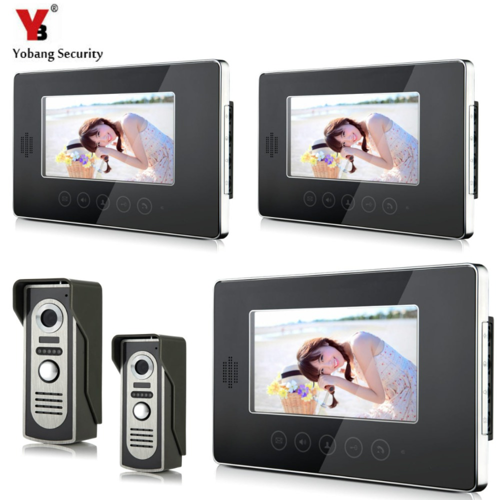 YobangSecurity Wired Video Door Phone Intercom 7Inch LCD Video Doorbell Camera System 2 Camera 3 Monitor For Apartment House video intercom system 4 3 tft lcd handset screen 2 monitor wired video doorphone for 2 apartment night vision camera