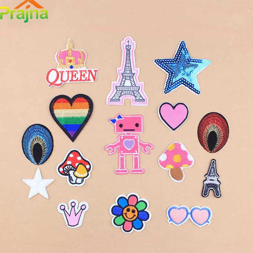 Zotoone 1pcs Cute Heart Crown Patch Eiffel Tower Embroidery