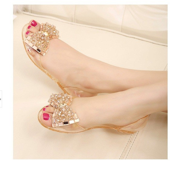2017 Fashion Melissa jelly Rhinestones Flip flops bow Glitter sandals womensTransparent flat Single shoes