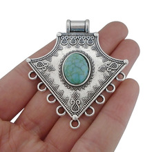 3 x Large Boho Chandelier Connector Charms Pendants Oval Faux Turquoise for Jewelry Making Findings 58x52mm faux turquoise cow engraved jewelry set