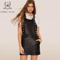 Демисезонный Для женщин натуральная кожа овчины черное платье пикантные Тонкий рукавов заклепки женский натуральная кожа подтяжки платья