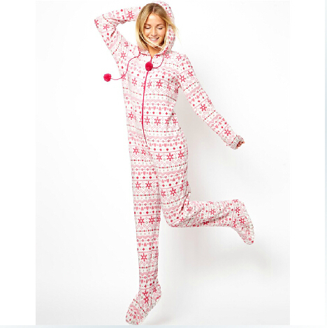 Aliexpress.com : Buy 2014 Autumn Hooded & Footed Pajamas Women ...
