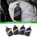Carbon Fiber M performance M emblem car key bag for bmw E30 E36 E46 E90 F01 F10 F20 F30 E60