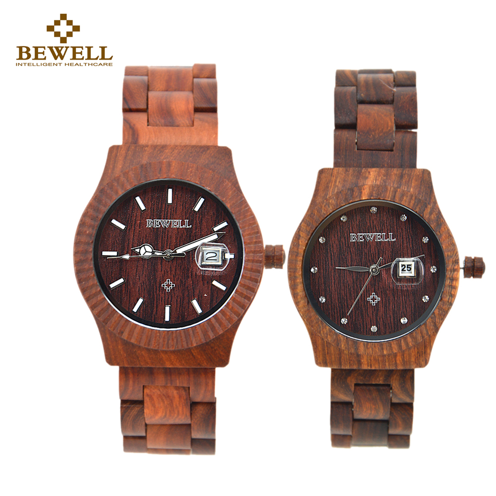 Wooden Couple Quartz Watch For Lover Gift With Calendar Luminous Hand Boys Girl Watch Top Luxury BEWELL Watches WaterProof 064AL