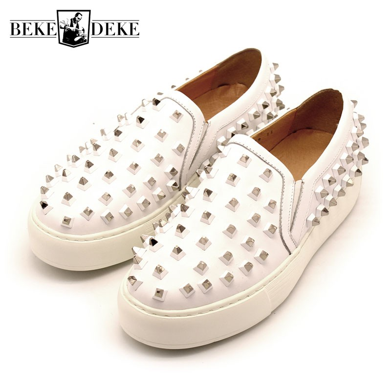 Handmade Rivet Lightweight Men Slip On Leather Loafers White Platform Shoes Casual Mens Shoes Genuine Leather Sneakers Plus Size standard 120pcs set auto automotive car boat truck blade fuse box assortment 5a 10a 15a 20a 25a 30a power tool accessories