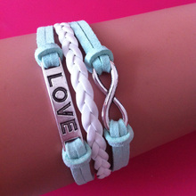 small cute jewelry wholesale Infinity LOVE 8 characters charms light green velvet rope lobster clasp wrap link bracelet