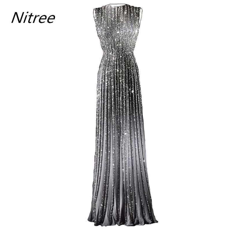 18877710ab4 ... Нарядное длинное блестящее платье для выпускного вечера банкетное  Серебряное Вечернее платье с камнями с пайетками Платья