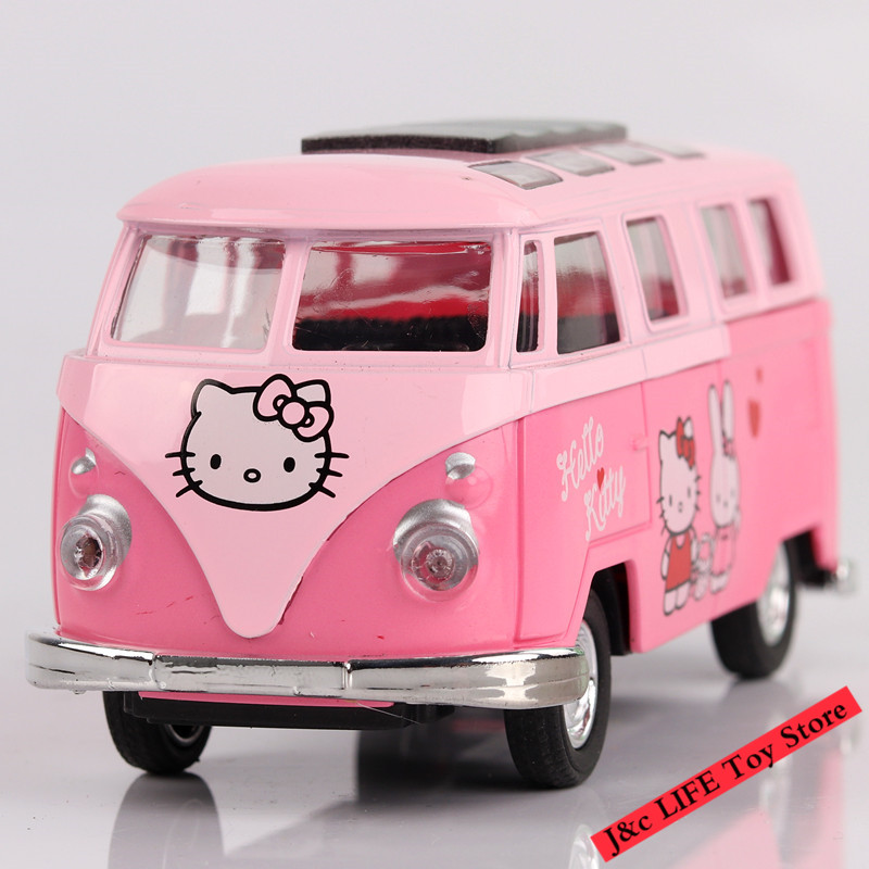 1:48 Scale Hello Kitty Alloy Diecast Car Model Pull Back Toy Cars Electronic Car with light&sound Kids Toys Gifts For Children