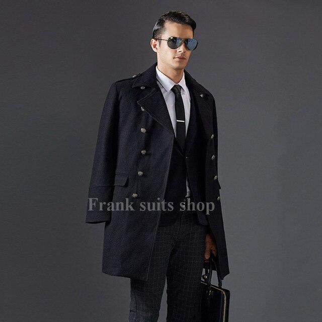 1df4bc04e1379 Custom Made 2017 2016 invierno de lana negro abrigo hombres lujo marca  doble breasted largo abrigo