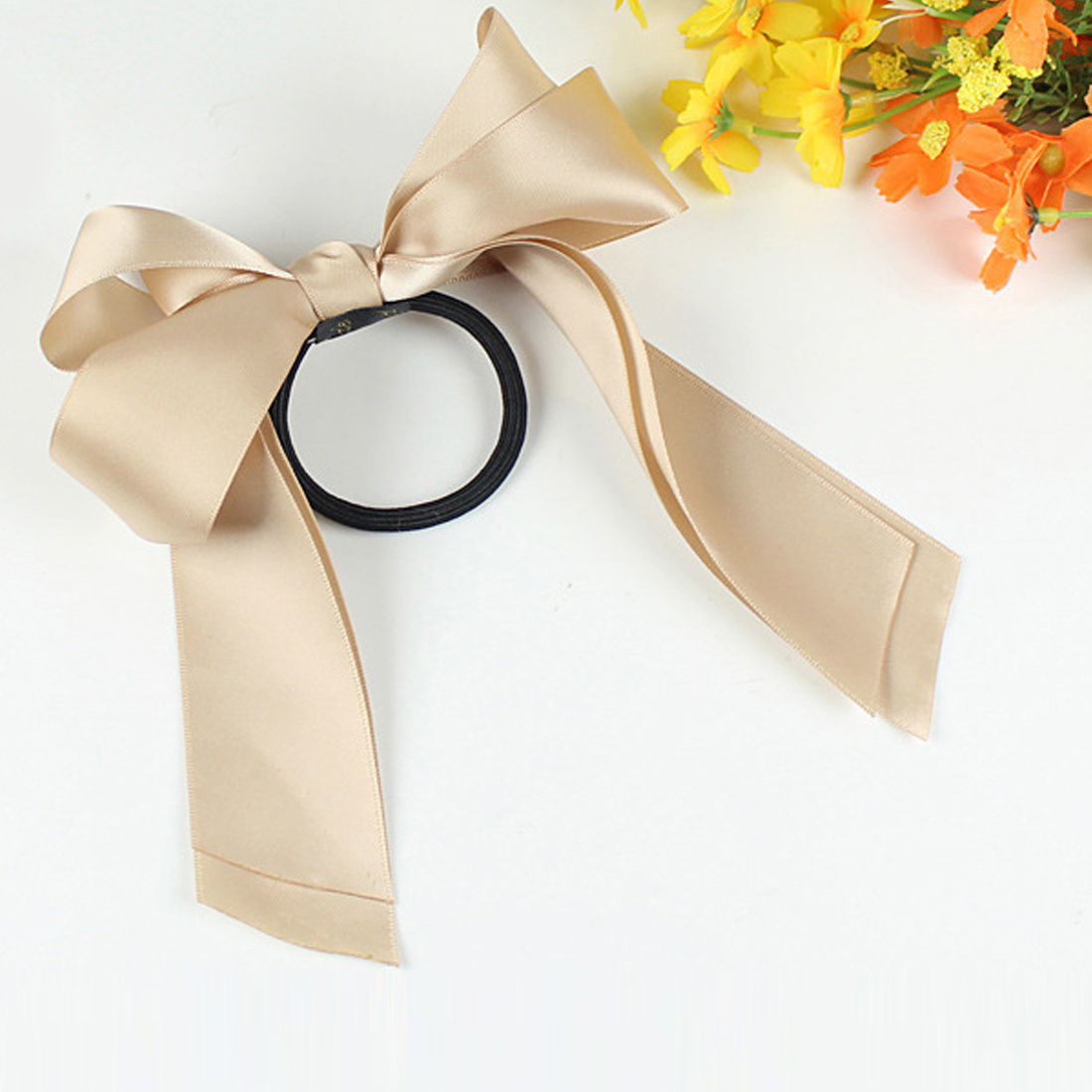 1pcs Women Rubber Bands Tiara Satin Ribbon Bow Hair Band Rope Scrunchie Ponytail Holder Gum for Accessories Elastic