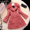 Winter new Women's fur coats,Elegant Slim Fox fur collar Rabbit fur coats Ladies real fur coats rabbit coats jackets FH625