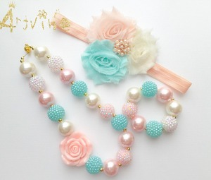 Peach Mint Rose Baby Girls Bubblegum Peach Toddler Necklace Chunky Baby Necklace C10(China)