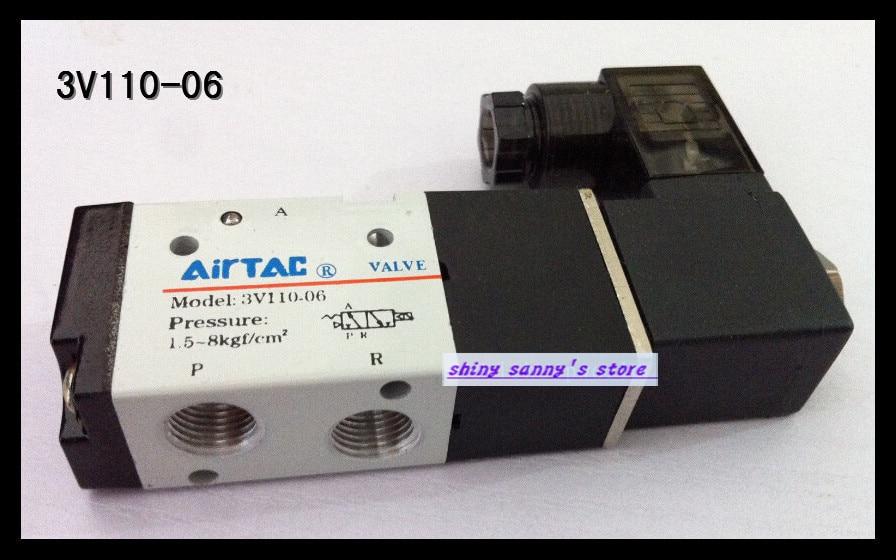 1Pcs 3V110-06 DC24V 3Port 2Position 1/8 BSP Single Solenoid Pneumatic Air Valve 3v110 06 g1 8 3port 2position pneumatic solenoid valve aluminum alloy ac110v ac220v ac380v ac24v 24v dc 12v dc